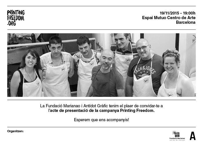 Invitación acto presentación Printing Freedom en Mutuo Centro de Arte de Barcelona
